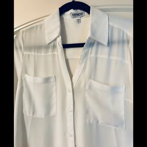 Express Slim Fit Portofino shirt in white
